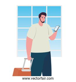 tourist man using smartphone with luggage in white background
