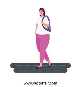 tourist woman with backpack on the street