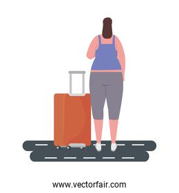 tourist woman back with baggage in the street