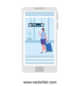 tourist woman with luggage in smartphone, application online travel