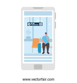 tourist man with luggage sitting airport in smartphone, app online travel