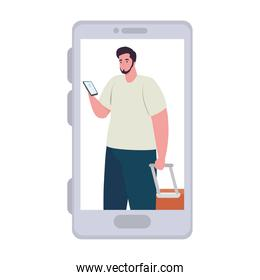 tourist man with luggage in smartphone, app online travel