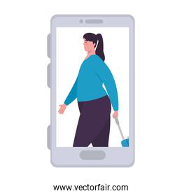 tourist woman with luggage in smartphone, app online travel