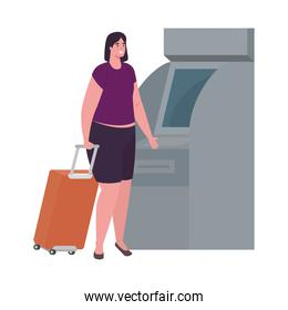 tourist woman with luggage and atm