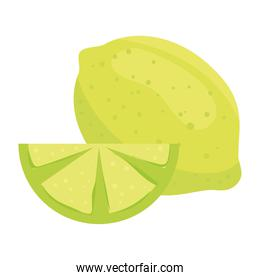 lemon whole and slice, healthy fruit, in white background