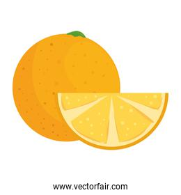 orange whole and slice, healthy fruit, in white background