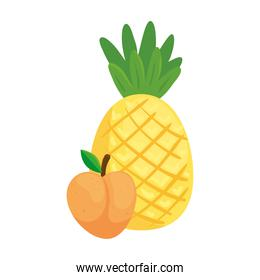 fresh fruits, peach and pineapple, in white background