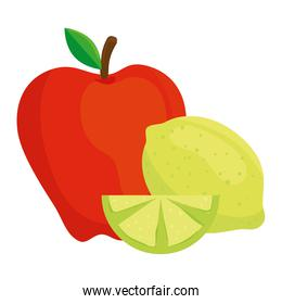 fresh fruits, lemon and red apple, in white background