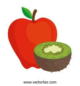 fresh fruits, apple red and kiwi, in white background
