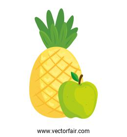 fresh fruits, apple green and pineapple, in white background