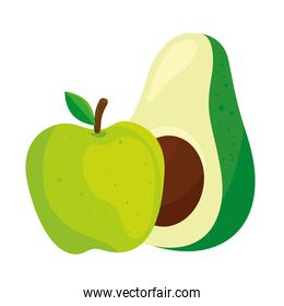 fresh fruit and vegetable, apple green and avocado, in white background