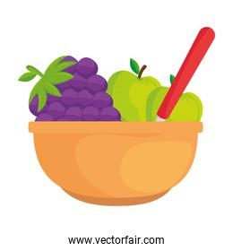 fresh and healthy fruits in bowl, on white background