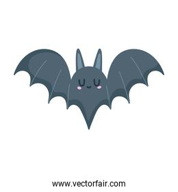 black bat animal open wings isolated icon