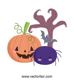happy halloween, funny pumpkin spider bat and dry tree, trick or treat party celebration