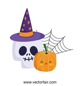 happy halloween, skull with hat pumpkin and cobweb, trick or treat party celebration