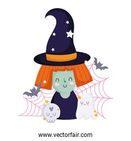 happy halloween, witch cartoon skull ghost bats and cobweb, trick or treat party celebration