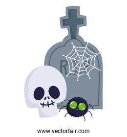 happy halloween, skull spider cobweb and tombstone trick or treat party celebration