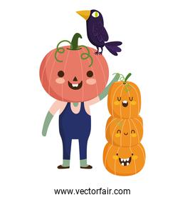 happy halloween, boy with pumpkin costume tree raven trick or treat party celebration
