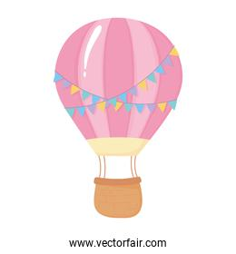 air balloon with decorative bunting celebration isolated icon
