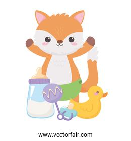 isolated little fox rattle and bottle milk, celebration welcome newborn