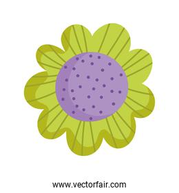 green flower ornament decoration isolated icon white background