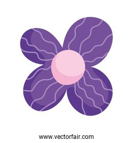 purple flower petals ornament decoration isolated icon white background