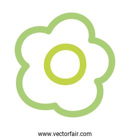 green contour flower petals ornament decoration isolated icon white background
