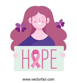 breast cancer awareness month, happy woman butterlfies and hope phrase, vector