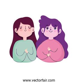 two young woman portrait cartoon isolated icon white background