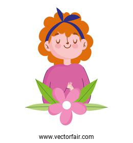 cute girl pink flowers leaf decoration isolated icon white background