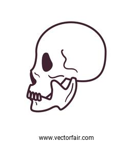 skull head side view line style icon vector design