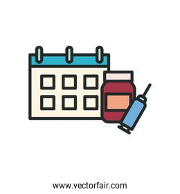 Medicine jar injection and calendar line and fill style icon vector design