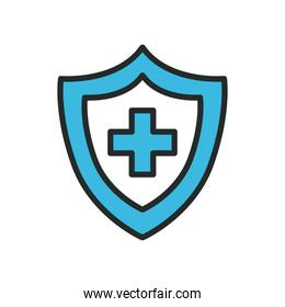 Cross inside shield line and fill style icon vector design