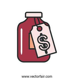 Medicine jar with price label line and fill style icon vector design