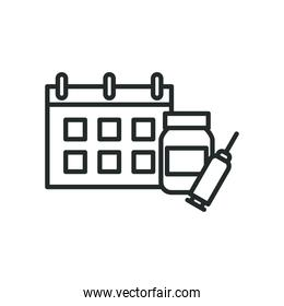 Medicine jar injection and calendar line style icon vector design