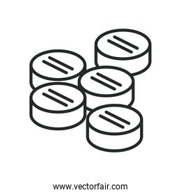 Medical pills line style icon vector design
