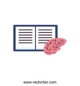 open book with brain flat style icon vector design