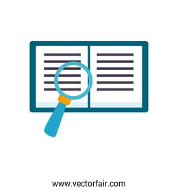 open book with lupe flat style icon vector design