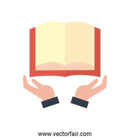 open book over hands flat style icon vector design