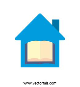 open book in house flat style icon vector design