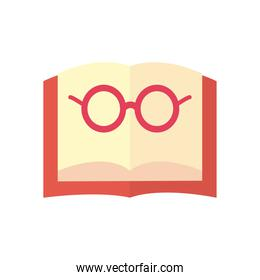 open book with glasses flat style icon vector design