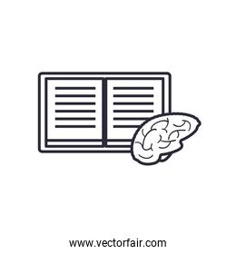 open book with brain line style icon vector design