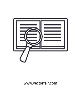 open book with lupe line style icon vector design