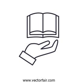 open book over hand line style icon vector design