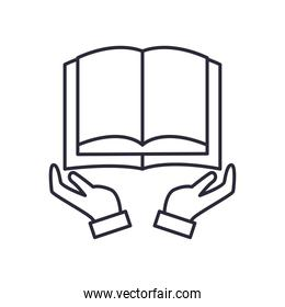 open book over hands line style icon vector design