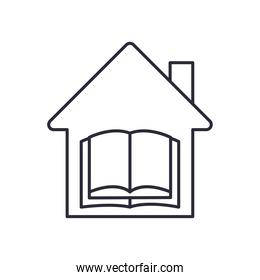 open book in house line style icon vector design