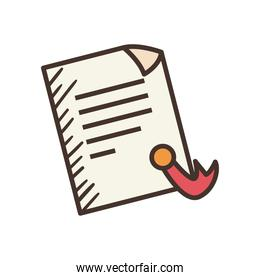 document paper with seal stamp line and fill style icon vector design