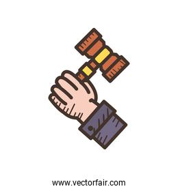 hand holding law hammer line and fill style icon vector design