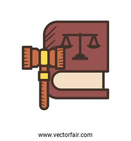 law scale on book with hammer line and fill style icon vector design