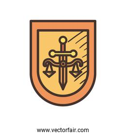 law scale with sword in shield line and fill style icon vector design